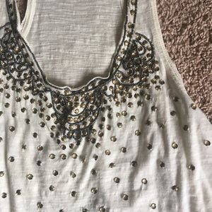 Free People beautifully detailed beaded tank top